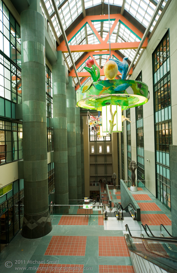 Architecture photography of the LA Central Public Library atrium