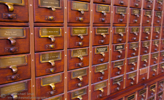 Photograph of an old card catalog in the LA Central Public Library