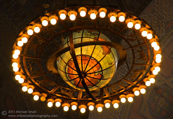 Detail photograph of the LA Central Public Library rotunda chandelier
