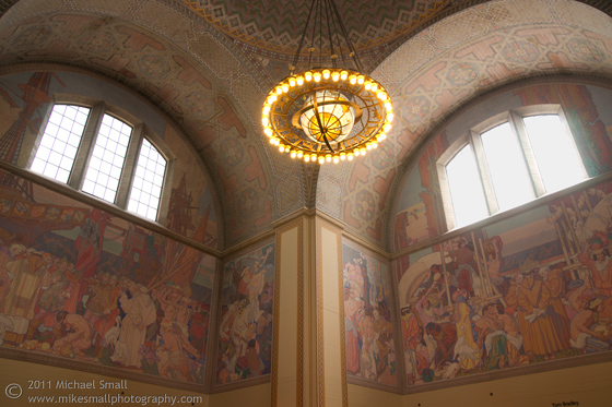 Photography of the murals in the LA Central Library rotunda