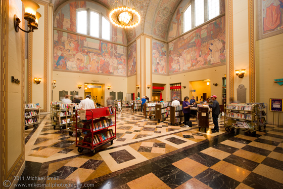 Architectural photograph of the Los Angeles Central Public Library rotunda