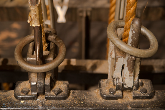 Detail photograph of the rigging at the Million Dolalr Theater in LA