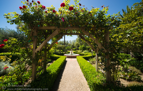 Photo of the garden at Santa Ines mission in California