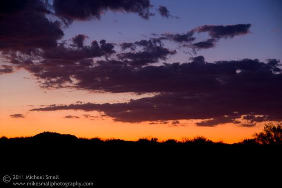 Sunset photograph near Fountain Hills, AZ