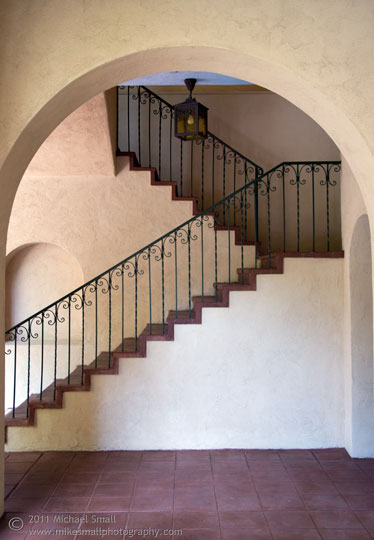 Photography of an arch and stairway in Balboa Park in San Diego, CA