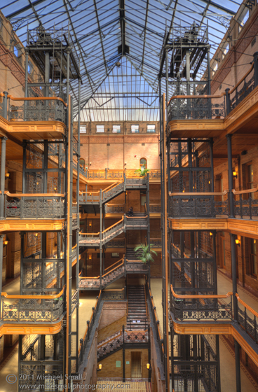 Photo of the atrium of the Bradbury Building in Los Angeles