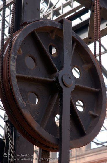 Image of an elevator pully in the Bradbury Building in LA