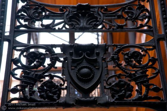 Photo of the wrought iron details in the Bradbury Building in LA
