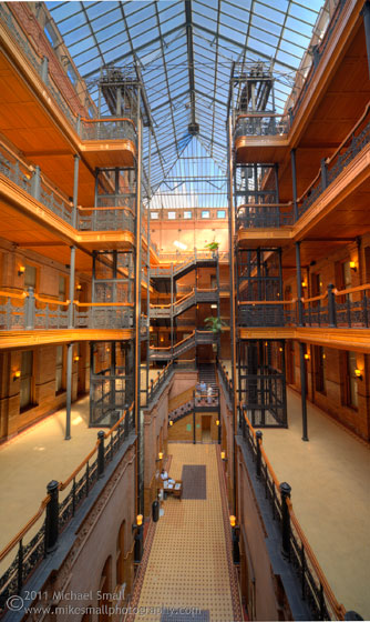 Architectural photograph of the Bradbury Building in LA