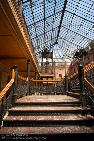 Interior architecture photograph of the Bradbury Building in LA