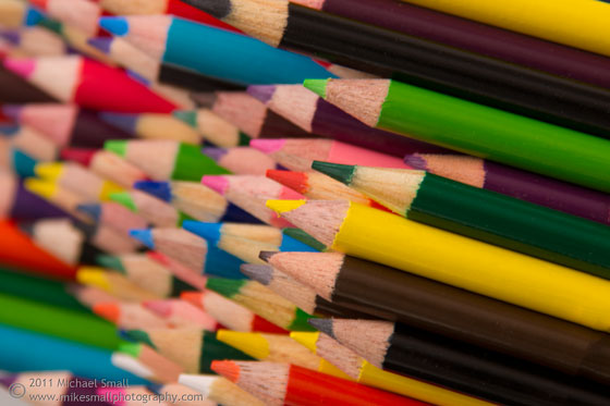 Photograph of colored pencils bundled together