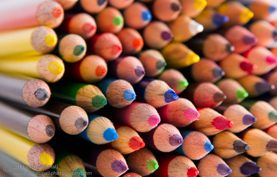 Image of a bundle of colored pencil tips