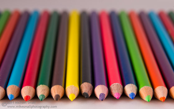 Photo of a row of colored pencils