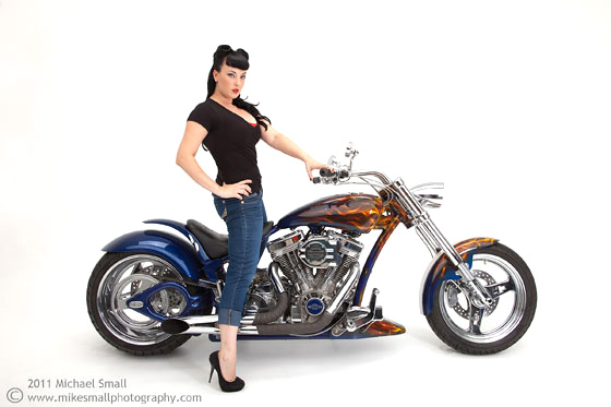 Photo of a model on a Steed morotcycle
