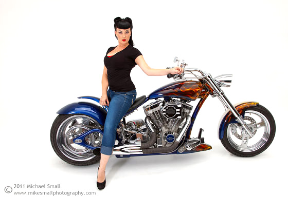 Image of a model on a Steed motorcycle