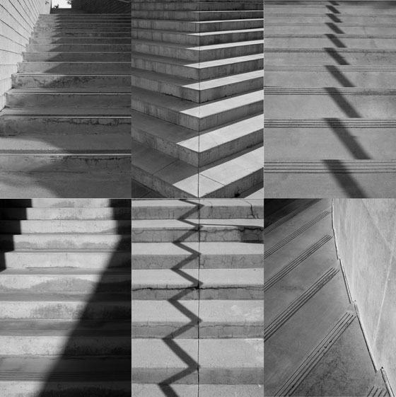 Photo collage of concrete staircases in black and white