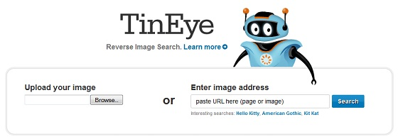 Screen shot of the TinEye reverse image search engine