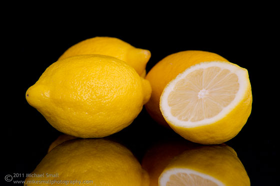 Still life photograph of lemons