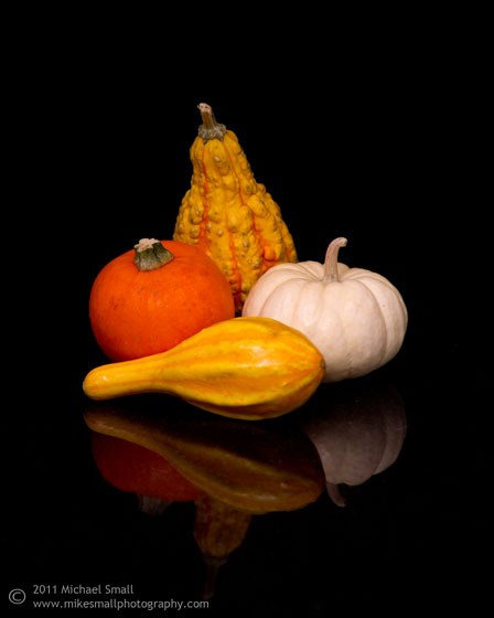 Still lIfe photograph of autum gourds