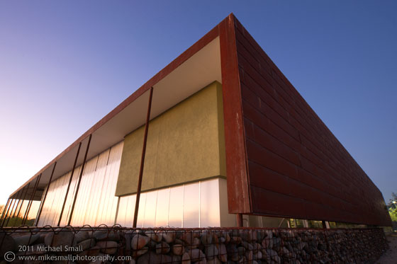 Architectural image of the Desert Broom Library at twilight