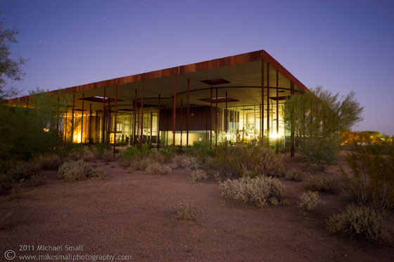 Photograph of the Desert Broom Library at night