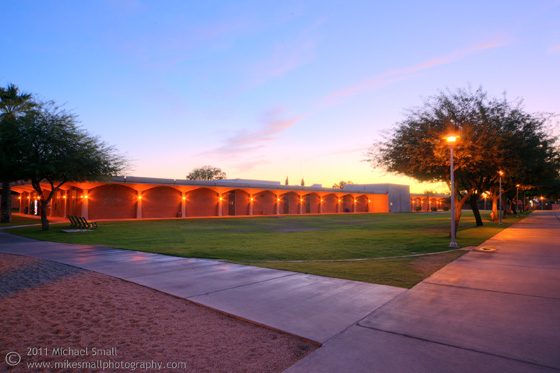Architectural photograph of Glendale Community College at twilight