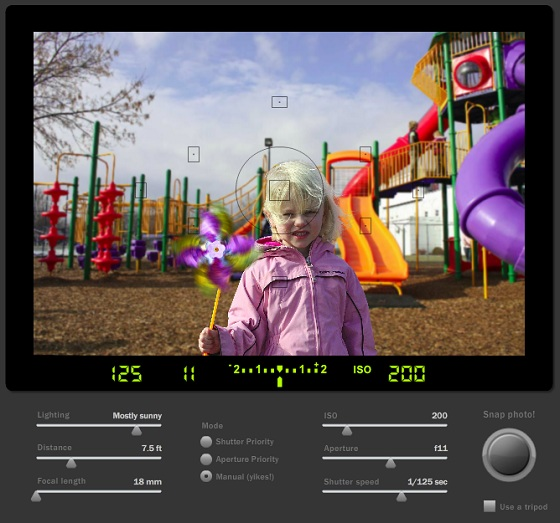 Screen shot of the SLR camera simulator.