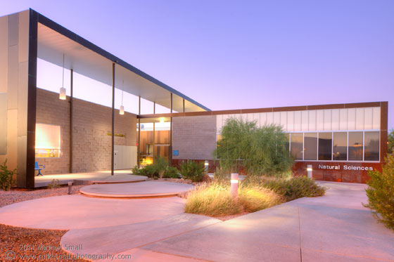 Architectural photograph of the Natural Sciences Building at Scottsdale Community College