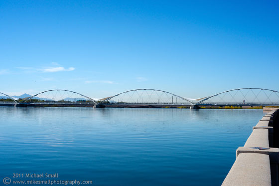 Distance view of the Tempe Town Lake pedestrian bridge.