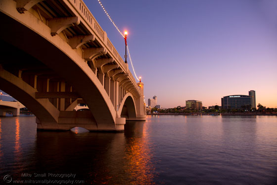 Photo of the Mill Ave bridge at twilight in Tempe, AZ