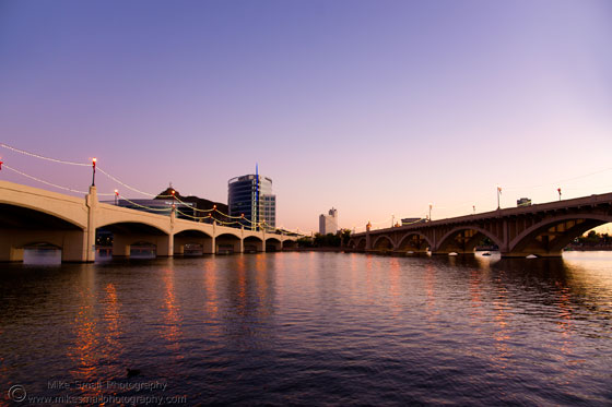 Twilight photography of the Mill Avenue Bridges in Tempe, AZ