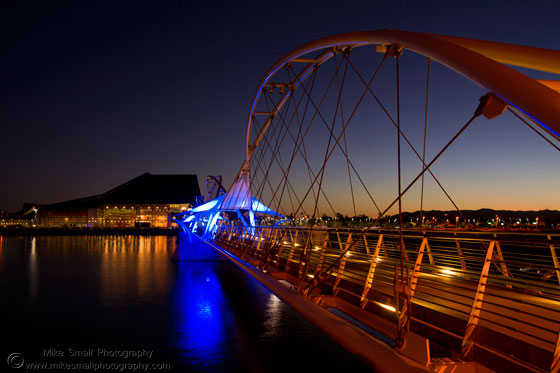 Photograph of the Tempe Town Lake Pedestrian Bridge at Sunset