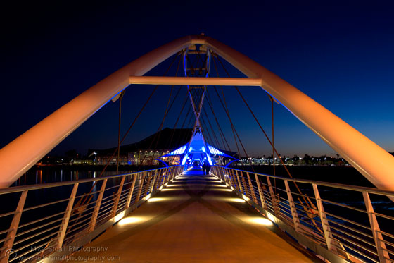 Photo of the Tempe Town Lake Pedestrian Bridge Lit Up at Night