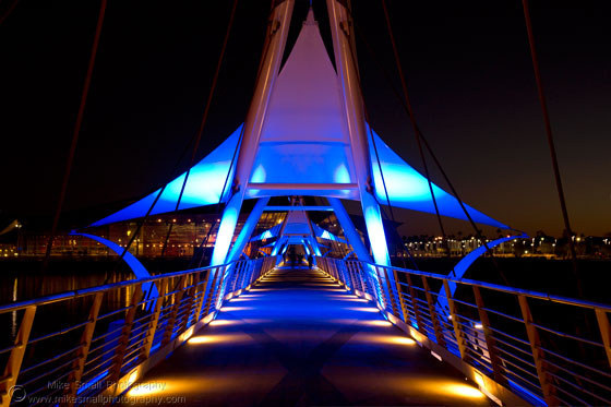 Photograph of the Tempe Town Lake Pedestrian Bridge Lit Up at Night