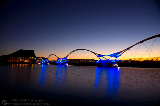 Image of the Tempe Town Lake Pedestrian Bridge at Sunset