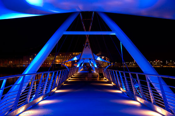 Photo of the lighting on the Tempe Town Lake Pedestrian Bridge at Night