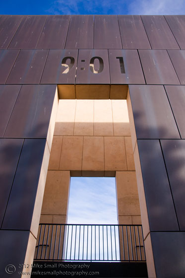 Photograph of the 9:01 gate of the Oklahoma City Memorial