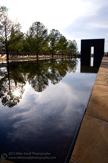 Image of the reflecting pool at the Oklahoma City Memorial