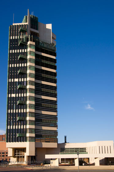 Architectural photograph of the Price Tower in Bartlesville, OK