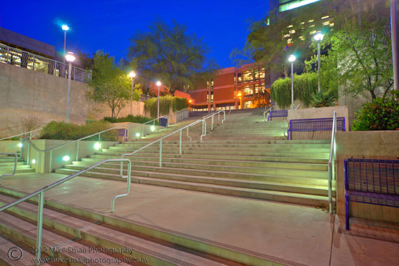 Architectural twilight photo of the Pacheco Learning Center at the U of A in Tucson.