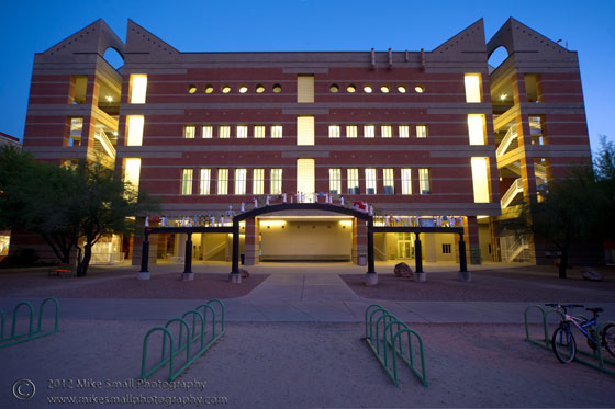 Twilight photograph of the Henry Koffler Building at the U of A