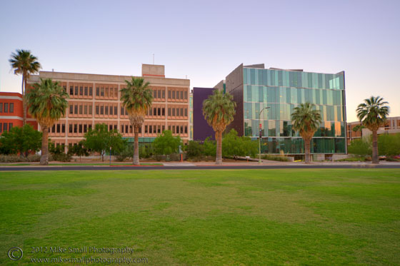 Architectural photography of the Meinel Optical Sciences buildings at the U of A