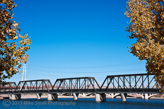Photo of the Tempe Town Lake railroad bridge